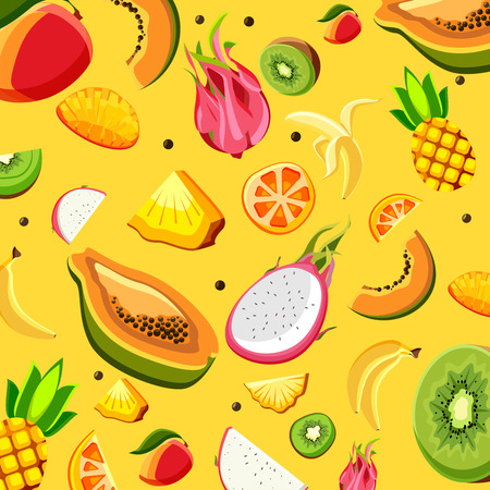 Yellow background with pattern of bright exotic fruits. Vector illustration.