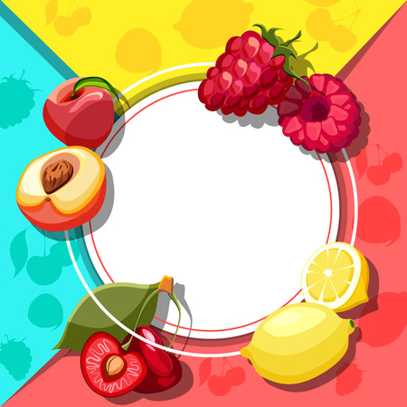White round background with bright fruits. Vector paper illustration.