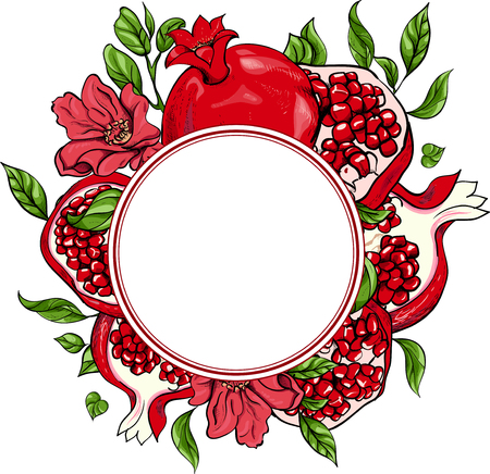 White round background with red pomegranate ornament. Vector paper illustration. Vectores