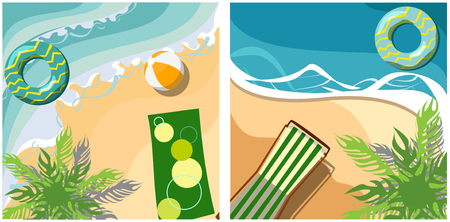 Two holidays backgrounds with sea coast, palm and chaise-longue. Vector top view summer illustration.