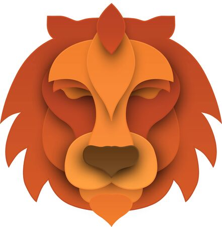 Ginger cartoon lions head isolated on white background. Vector 3d illustration.