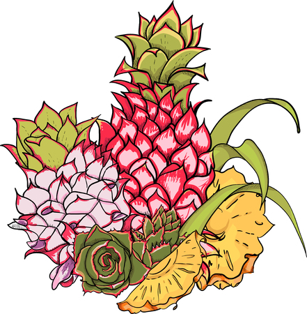 White tropical card with colorful pineapple. Vector paper illustration.