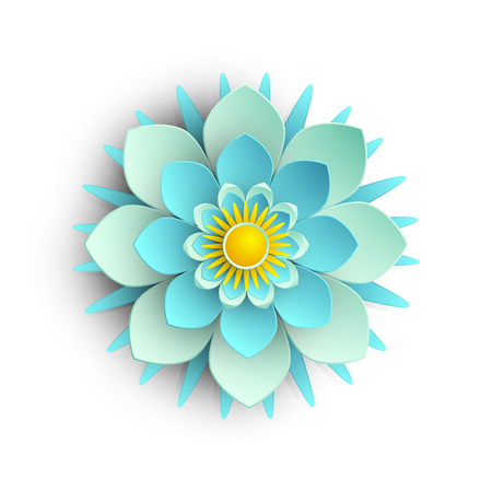 Blue 3d flower isolated on white background. Vector top view illustration.