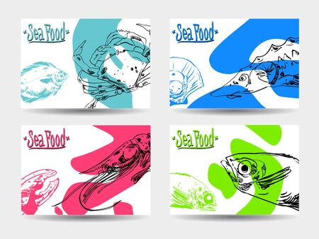 Set of four colorful cards with seafood on white background. Vector paper illustration. Vectores