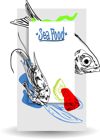 Rectangular background with colorful seafood on white background. Vector paper illustration. Stock Illustratie
