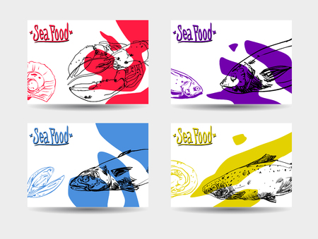 Set of four colorful cards with seafood on white background. Vector paper illustration. Vettoriali