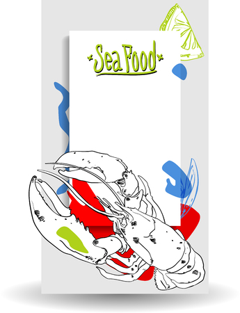 Colorful seafood background with lobster on white background. Vector paper illustration.