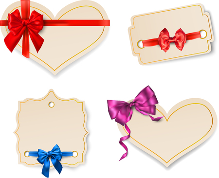 Beige paper decorative card templates with beautiful colorful satin bow vector illustration.
