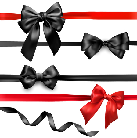 Set of black and red beautiful satin bows and ribbon on white background vector illustration. 矢量图像