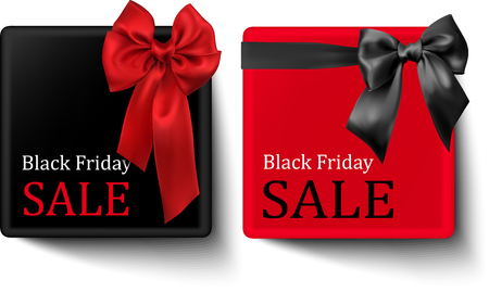 Black Friday sale square cards with red and grey satin bow vector paper illustration. Illustration