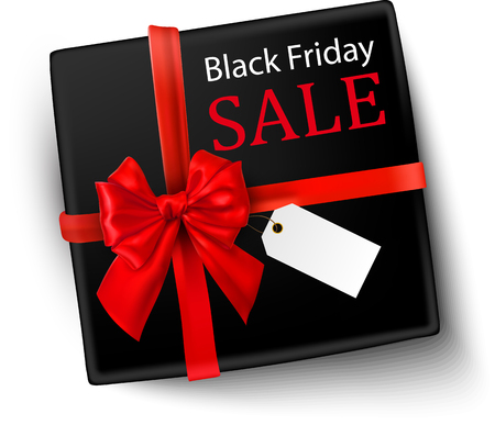 Black Friday sale background with box and red satin bow vector top view illustration.