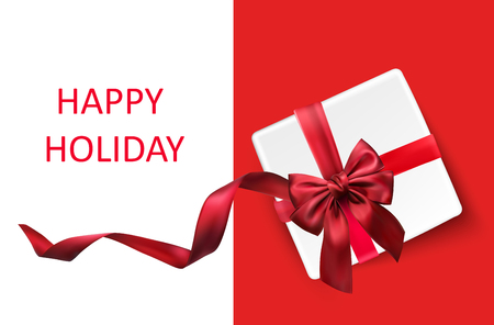 Happy holiday background with white gift box and red bow. Vector top view illustration.