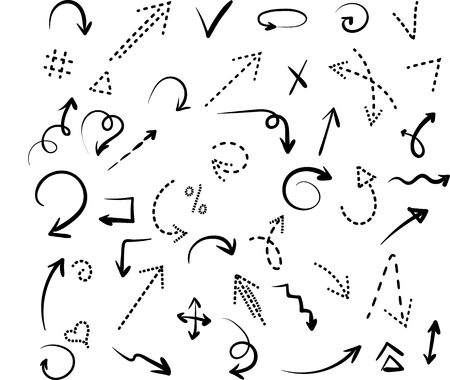 Set of black hand-drawn arrows and dotted signs isolated on white background. Vector illustration.