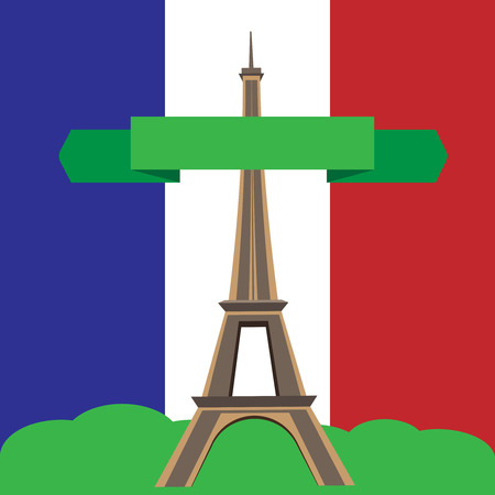 Paris background with french flag and Eiffel Tower. Vector illustration. Ilustrace
