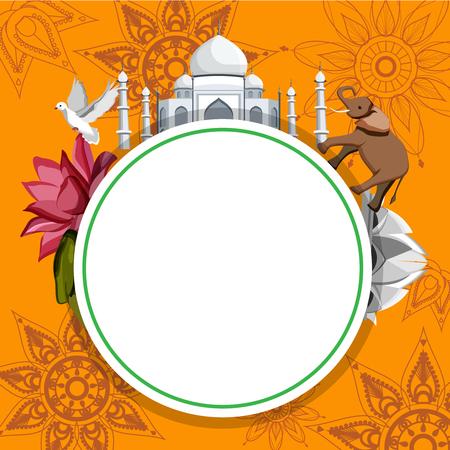 Round orange Indian background with Taj Mahal, Lotus Temple and elephant. Vector illustration.
