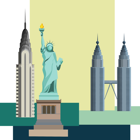 USA New York background with Statue of Liberty and Empire State building. Vector illustration.