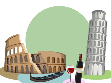 Italian background with Colosseum, gondola and Leaning tower of Pisa. Vector illustration.