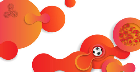 Orange and white abstract Russian    background with soccer ball. Vector illustration. Vectores