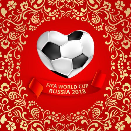 Rode voetbalachtergrond met de bal van de hartvorm en khokhlomaornament. Vector illustratie.