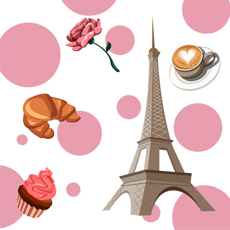 White and pink French background with coffee, confection and Eiffel Tower. Vector illustration.