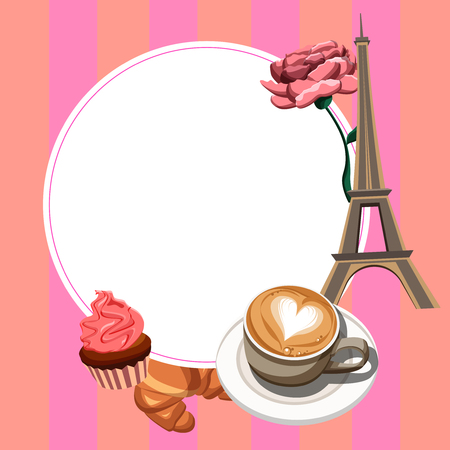 French Parisian background with white round frame, coffee and Eiffel Tower. Vector illustration.