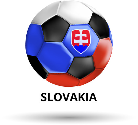 White Slovakia card with soccer ball in colors of national flag. Vector sport illustration.