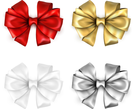 Set of colorful realistic beautiful satin bows for gift isolated on white. Vector illustration.