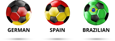 White German, Spain, Brazilian card with soccer balls in colors of national flags. Vector sport illustration.