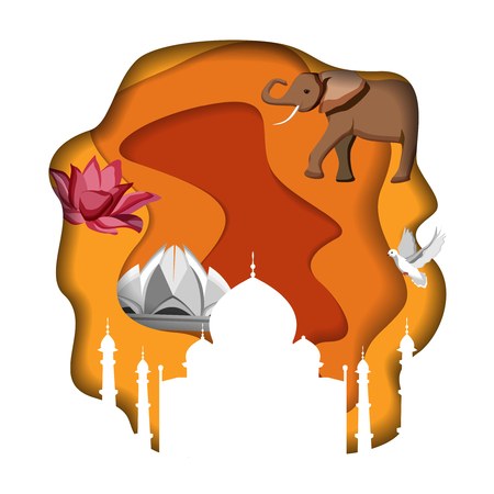 Orange and white Indian background with Taj Mahal, Lotus Temple and elephant. Vector paper illustration. Illustration