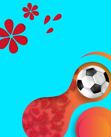 Red and blue abstract Russian football world cup background with soccer ball. Vector illustration.