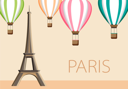 Beige French Paris background with Eiffel Tower and air balloons. Vector illustration.