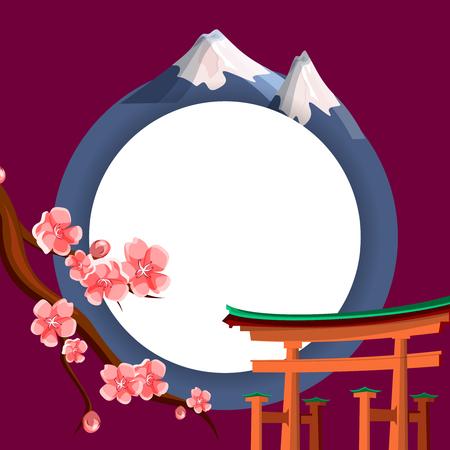 White round frame on burgundy Japanese background with sakura and torii. Vector illustration. Illustration