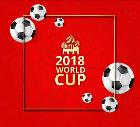 Red football 2018  background with soccer balls and russian symbolic ornament. Vector illustration.