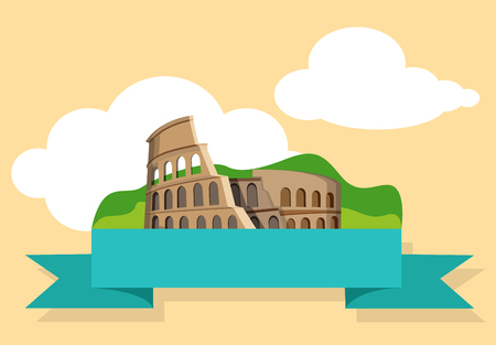 Yellow Italian Rome background with Colosseum. Vector paper illustration.