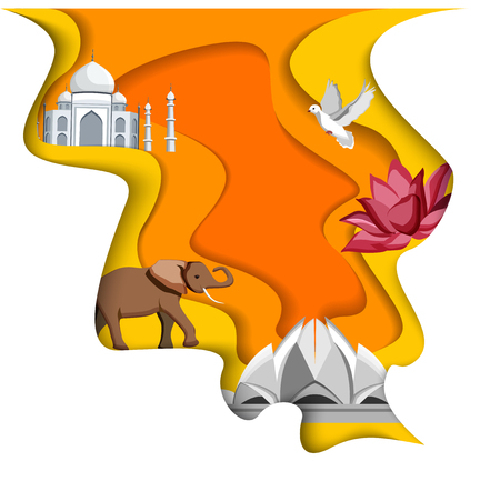 Orange and white Indian background with Taj Mahal, Lotus Temple and elephant. Vector paper illustration.