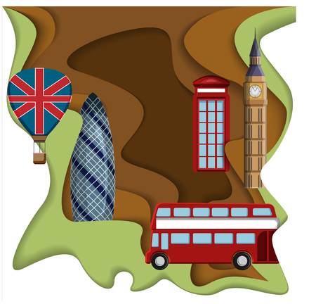 British London background with Big Ben, red call-box and bus. Vector paper illustration.