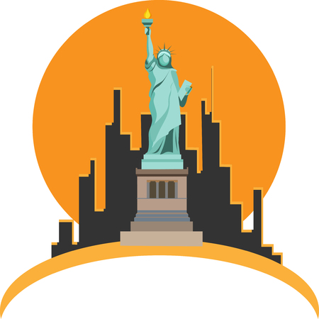 Orange and white USA New York background with Statue of Liberty. Vector illustration.
