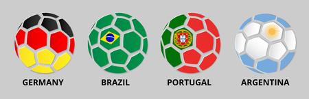 Duitsland, Portugal, Brazilië, Argentinië banner met voetballen in kleuren van nationale vlaggen. Vector sport illustratie.