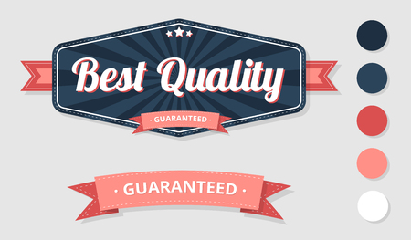 Blue and pink best quality and guaranteed label templates isolated on white background. Vector illustration.