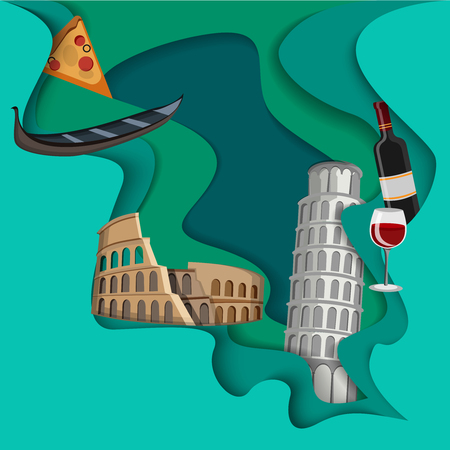 Green Italian background with Colosseum, gondola, wine, pizza and Pisa tower. Vector illustration.