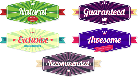 Colorful product quality and consumerism label templates isolated on white background. Vector illustration.