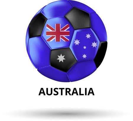 White Australia card with soccer ball in colors of national flag. Vector sport illustration. Illustration