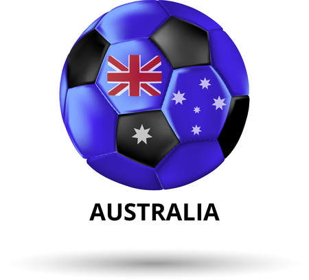 White Australia card with soccer ball in colors of national flag. Vector sport illustration. Stock Illustratie