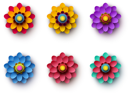 Set of bright colorful 3d flowers isolated on white background. Vector top view illustration. Illustration