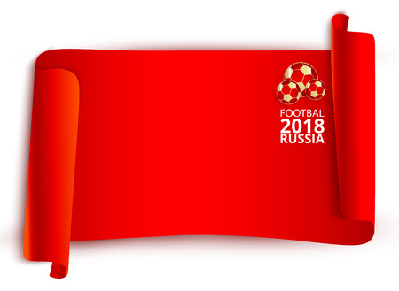 Red Russia 2018 world cup football label. Illustration