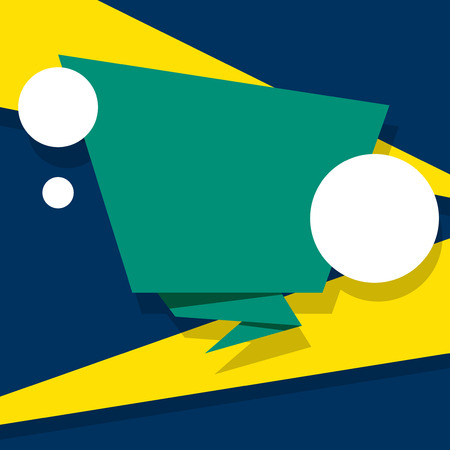 Green blank replica template on blue and yellow background. Vector paper illustration.