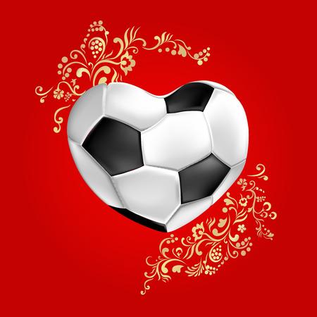 Fondo de fútbol rojo con bola en forma de corazón y adornos de oro. Ilustración de vector.
