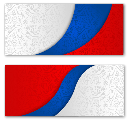 Two football backgrounds with russian flag colors and symbolic pattern. Vector illustration.