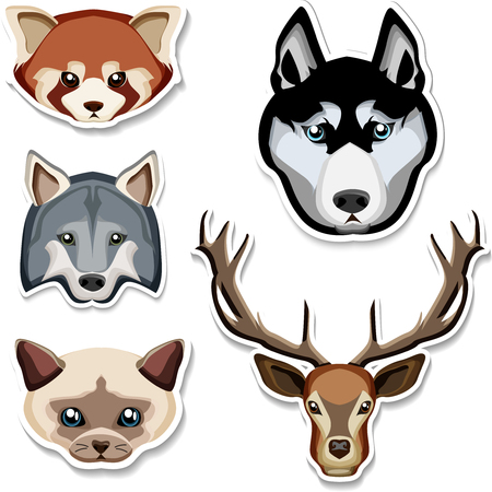 Cartoon wolf, husky, cat, deer and chipmunk heads sticker isolated on white background. Vector paper illustration.