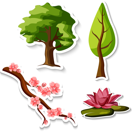 Green trees, sakura and lotus flower stickers isolated on white background. Vector paper illustration.